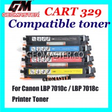 Canon 329 / Cartridge 329 Black + Cyan + Magenta + Yellow High Quality Compatible Toner Cartridge (1 Set 4 Unit) For Canon LBP 7010c / LBP 7018c Printer Toner