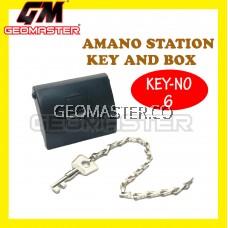 AMANO PR 600 WATCHMAN CLOCK STATION KEY AND BOX (NO 6)