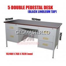 "GM 5"" DOUBLE PENDESTAL DESK ( STEEL TABLE) - MELAMINE CHIPBOARD TOP"