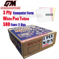 GM 3 PLY COMPUTER FORM WHITE/PINK/YELLOW (500 FANS)