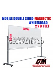 2 X 3 DOUBLE SIDED MAGNECTIC WHITEBOARD WITH STAND (60CM X 90CM) WHITE BOARD WITH STAND