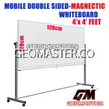 4 X 4 DOUBLE SIDED MAGNECTIC WHITEBOARD WITH STAND (120CM X 120CM) WHITE BOARD WITH STAND