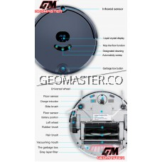 GEOMASTER ALL IN ONE SMART HOME ROBOTIC VACUUM SWEEP , VACUUM , MOPPING , APPS CONTROL , MAPS SHOWING, AUTO BATTERY RECHARGE