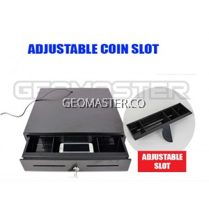 GEOMASTER Heavy Duty Cash Drawer Box POS Register RJ-11 Key Lock With 5 Bill 5 Coin Trays