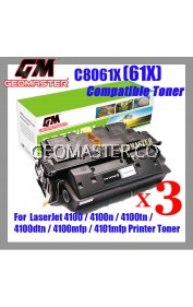 3 UNIT Compatible Laser Toner C8061X / 61X / 8061 Compatible High Yield Toner For LaserJet 4100 / 4100n / 4100tn / 4100dtn / 4100mfp / 4101mfp Printer Toner
