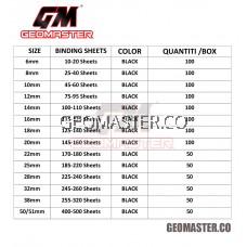 Comb Binder Rings / Plastic Comb Rings / Binding Rings / Binding Comb Rings 14mm Black - 100Pcs/Box