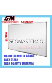 HIGH QUALITY Magnetic White Board WHITEBOARD (91cm x 152cm)- 3 x 5 ruler