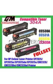 Full Set HP Compatible Colour Laser Toner 304A / CC530A + CC531A + CC532A + CC533A High Quality Compatible Toner Cartridge (1 Set 4 Unit) For HP Colour Laser Printer CP2025 / CP2025n / CP2025dn / CP2025x / CM2320 / CM2320fxi / CM2320nf Printer