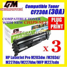 3 UNIT Compatible HP CF230A(30A)(1.6K)Toner Cartridge For HP LaserJet Pro M203dn Printer/HP LaserJet Pro M203dw Printer/M203d HP LaserJet Pro MFP M227fdn/ HP LaserJet Pro MFP M227fdw/HP LaserJet Pro MFP M227sdn