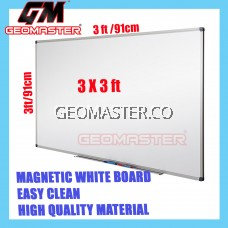 HIGH QUALITY Magnetic White Board WHITEBOARD (90cm x 90 cm)-  3 x 3 ruler