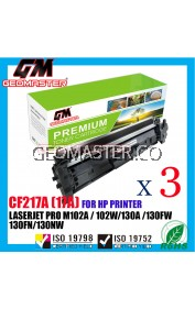 3 UNIT Compatible Laser Toner Cartridge For HP 217 CF217a 217a 17A  HP LaserJet Pro M102 / M102a / M102w / M130 / M130a / M130fn / M130fw / M130nw