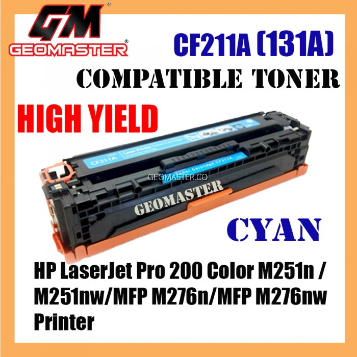 HP Compatible CF211A / 131A Cyan High Yield Compatible Toner Cartridge For HP LaserJet Pro 200 Color M251n / M251nw / MFP M276n / MFP M276nw Printer