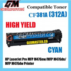 Colour Laser Toner HP Compatible 312A / CF381A Cyan Compatible Toner Cartridge For HP LaserJet Pro MFP M476nw / MFP M476dn / MFP M476dw Printer