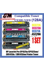 Full Set Compatible Toner HP 128A / CE320A + CE321A + CE322A + CE323A High Quality Colour Toner Cartridge (1 Set 4 Unit) For HP LaserJet Pro CP1525n / CP1525nw / CM1415fn / CM1415fnw Printer Toner No Ratings