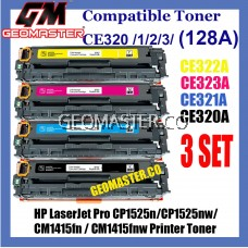 3 Set Compatible Toner HP 128A / CE320A + CE321A + CE322A + CE323A High Quality Colour Toner Cartridge (1 Set 4 Unit) For HP LaserJet Pro CP1525n / CP1525nw / CM1415fn / CM1415fnw Printer Toner No Ratings