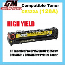 Compatible Colour Laser Toner HP CE322A / 128A Yellow High Quality Compatible Toner Cartridge For HP LaserJet Pro CP1525n / CP1525nw / CM1415fn / CM1415fnw Printer Toner