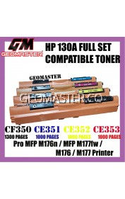 Full Set Compatible Colour Laser Toner HP 130A / CF350A + CF351A + CF352A + CF353A (1 Set 4 Unit) Compatible Toner Cartridge For LaserJet Pro MFP M176n / MFP M177fw / M176 / M177 Printer
