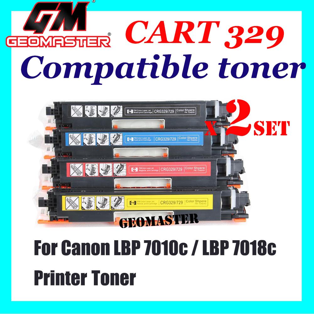 2 SET Canon 329 / Cartridge 329 Black + Cyan + Magenta + Yellow High Quality Compatible Toner Cartridge (1 Set 4 Unit) For Canon LBP 7010c / LBP 7018c Printer Toner