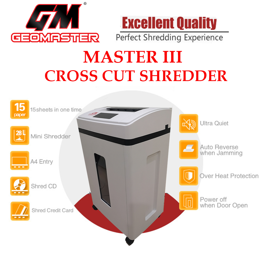 GM PLATINIUM MASTER-III CROSS CUT PAPER SHREDDER - WITH STAINLESS CUTTER - TOUCH SCREEN