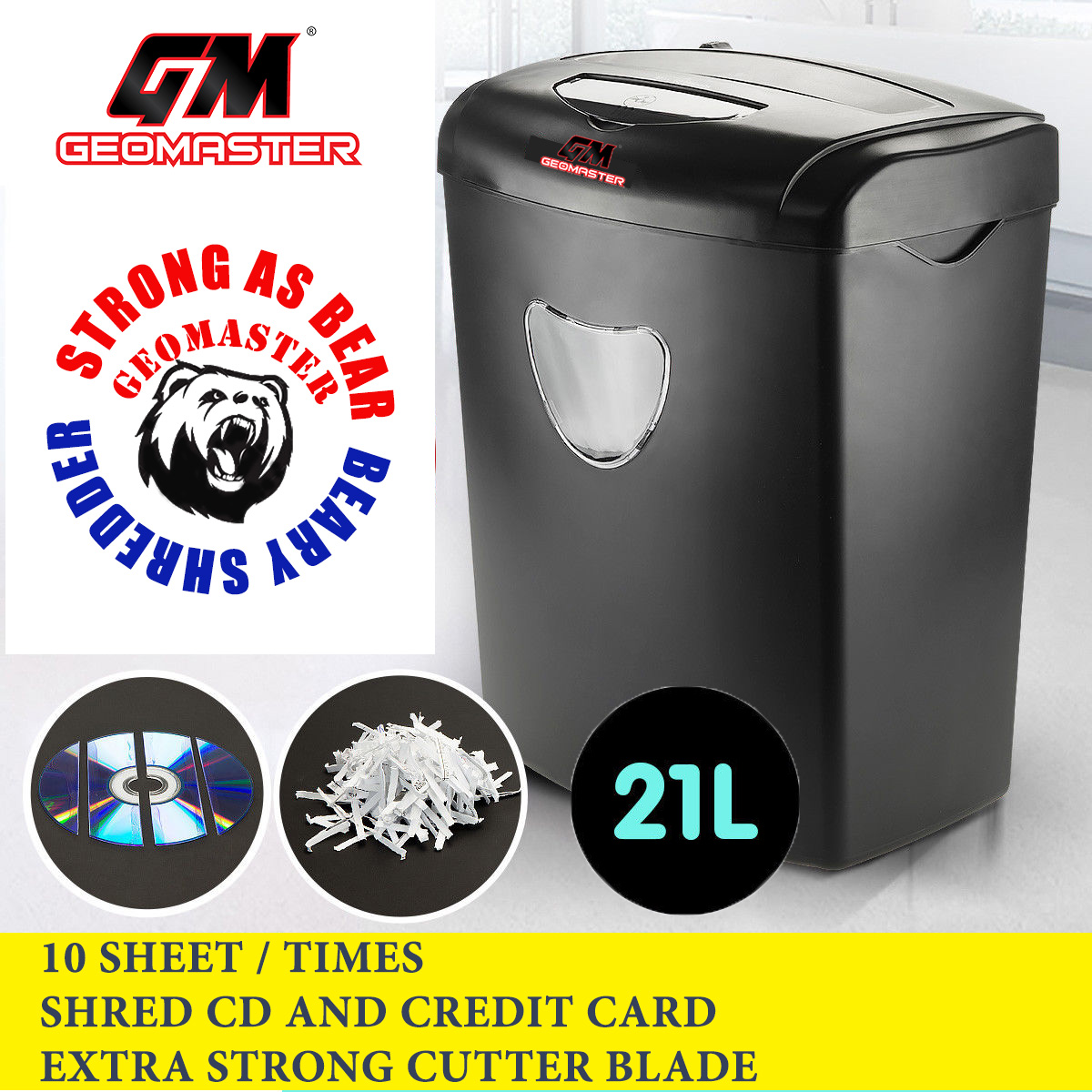 GM CROSS CUT PAPER SHREDDER MACHINE + BEARY STEEL STRONG CUTTER