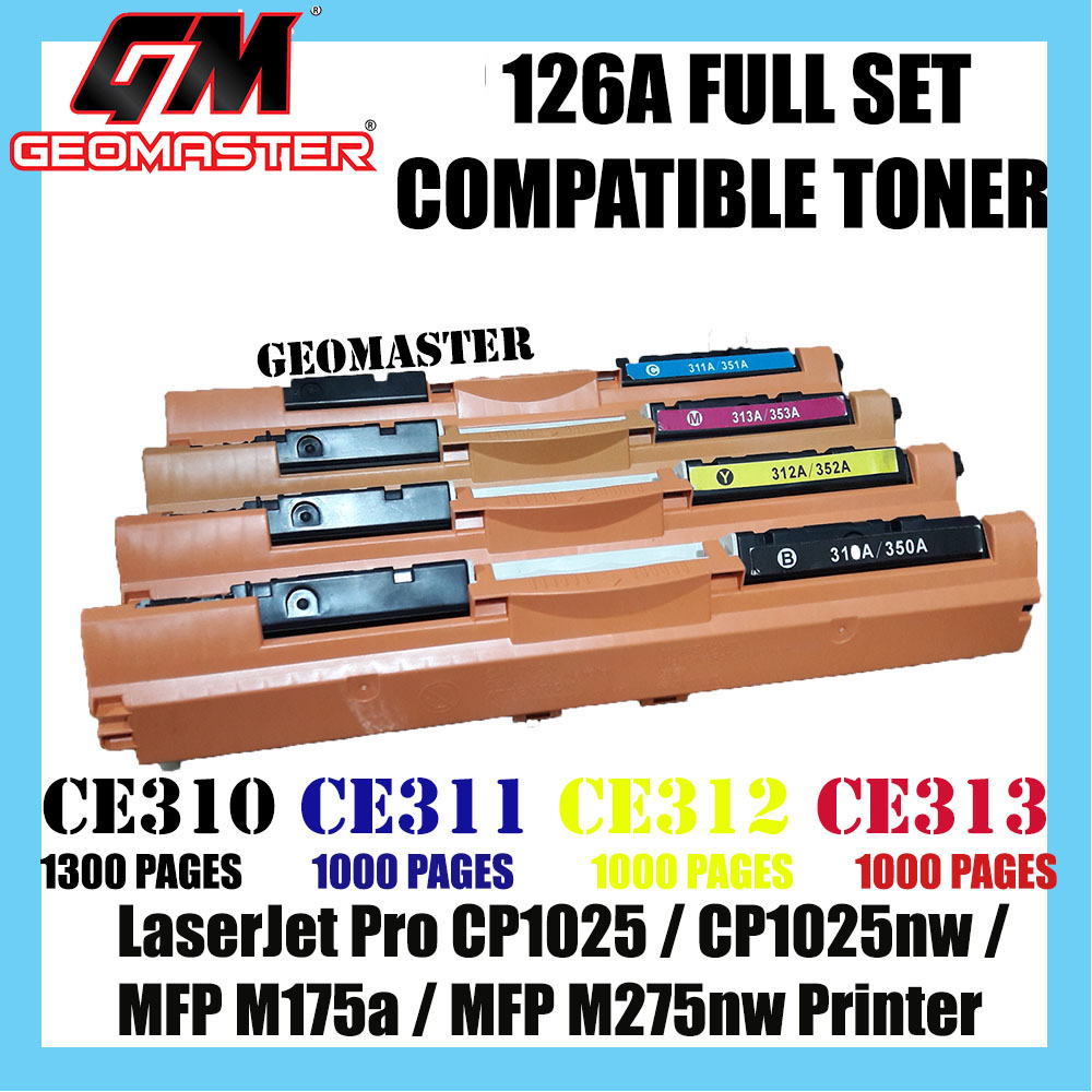 Full Set Compatible 126A / CE310A + CE311A + CE312A + CE313A High Quality Compatible Toner Cartridge (1 Set 4 Unit) For LaserJet Pro CP1025 / CP1025nw / MFP M175a / MFP M275nw Printer