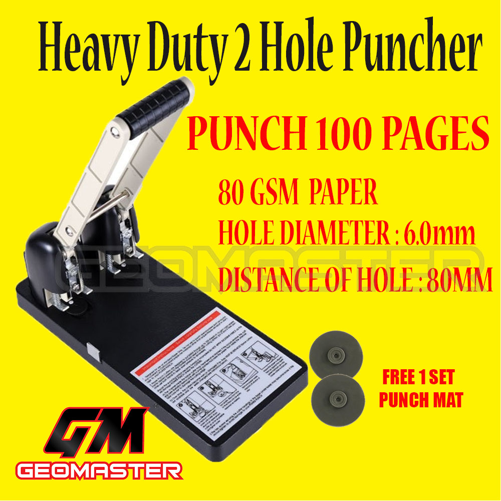 GM 0100 100 Sheets puncher - 2 holes puncher  + Free Spare Punching Mat