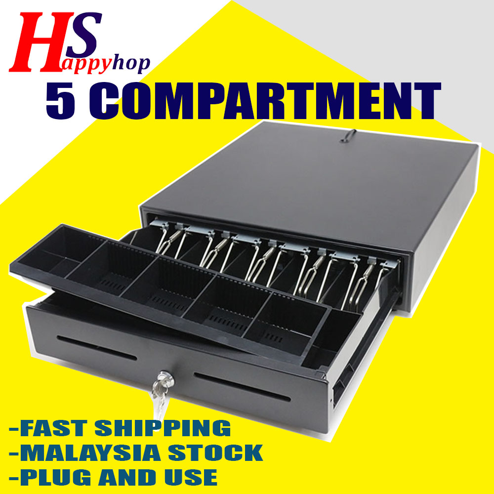 5 Compartment Heavy Duty Cash Drawer Box POS Register RJ-11-10yr wrty
