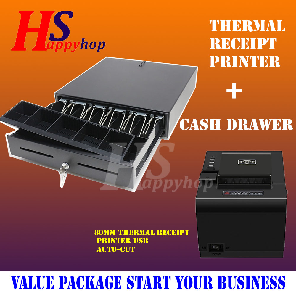 GEOMASTER Thermal Receipt Printer 80mm - USB with Drawer Set