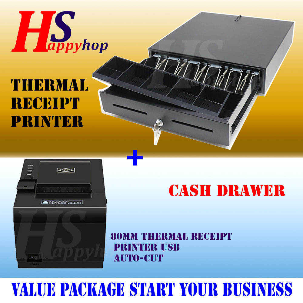 GEOMASTER Thermal Receipt Printer 80mm AUTOCUT- USB with Drawer Set