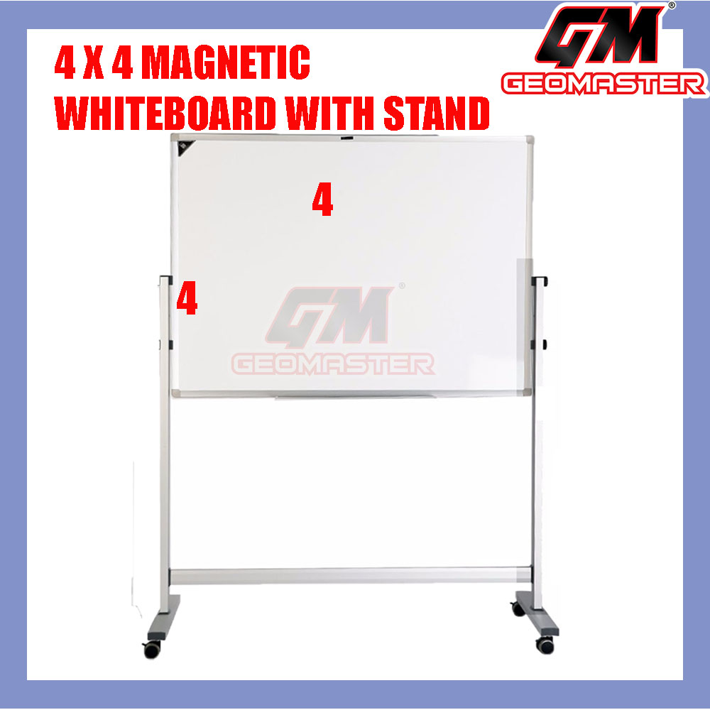 4 X 4 MAGNECTIC WHITEBOARD WITH STAND (122CM X 122CM) WHITE BOARD WITH STAND