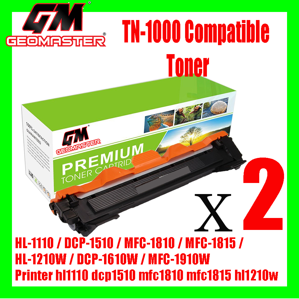 2 UNIT Brother TN1000 / TN-1000 High Quality Compatible Toner Cartridge For Brother HL-1110 / DCP-1510 / MFC-1810 / MFC-1815 / HL-1210W / DCP-1610W / MFC-1910W Printer hl1110 dcp1510 mfc1810 mfc1815 hl1210w dcp1610w mfc1910w ink