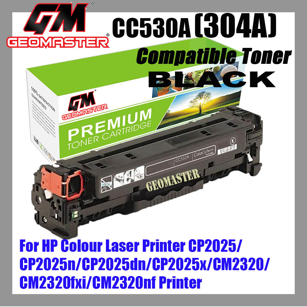 Compatible Colour Laser Toner HP 304A / CC530A Black High Quality Compatible Toner Cartridge For HP Colour Laser Printer CP2025 / CP2025n / CP2025dn / CP2025x / CM2320 / CM2320fxi / CM2320nf Printer
