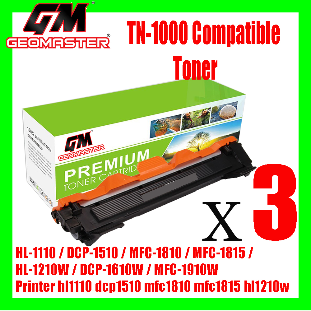 3 UNIT Brother TN1000 / TN-1000 High Quality Compatible Toner Cartridge Brother HL-1110 / DCP-1510 / MFC-1810 / MFC-1815 / HL-1210W / DCP-1610W / MFC-1910W