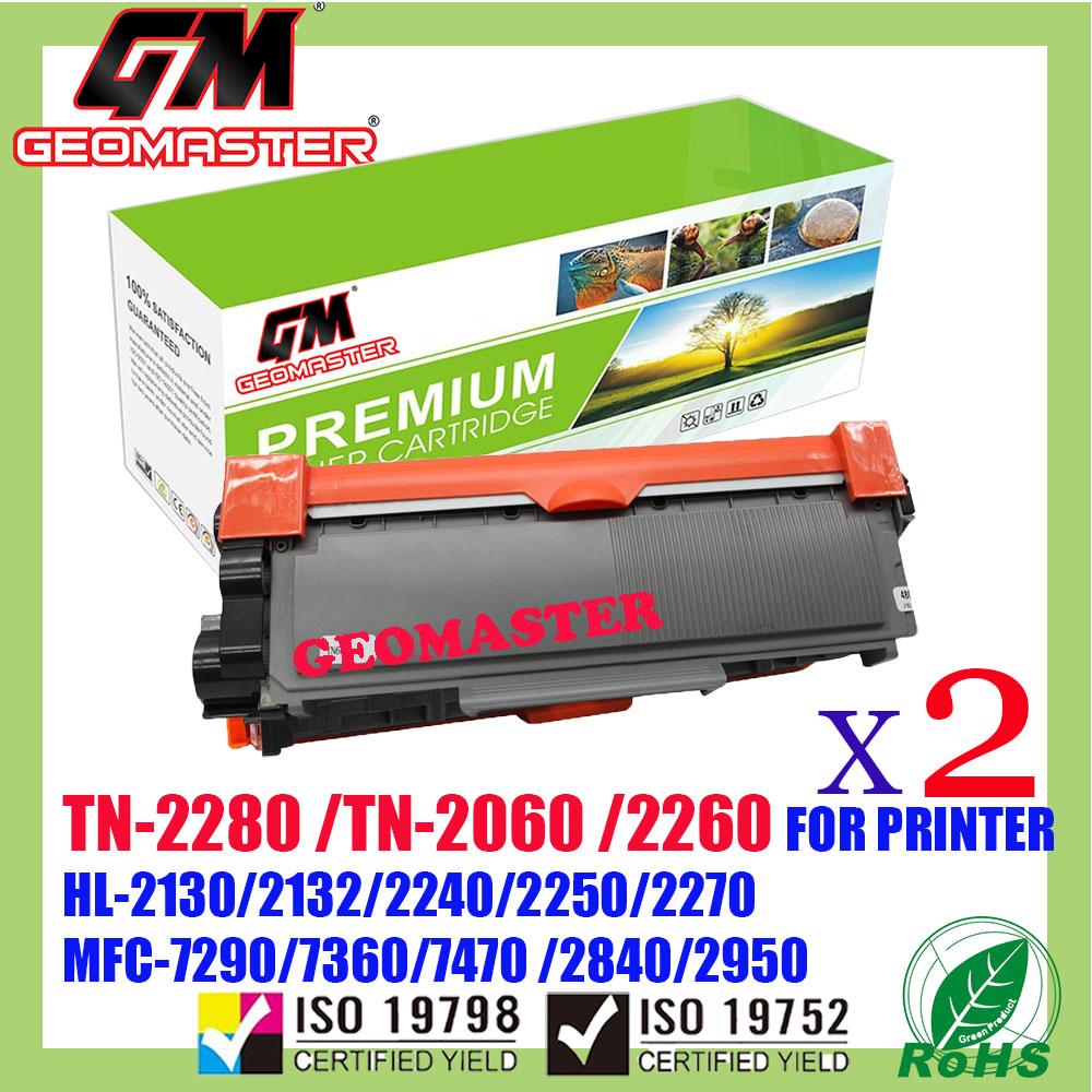 2 UNIT Compatible Brother TN2060 / TN2260 / TN2280 Laser Toner Cartridge For Brother HL-2130 / DCP-7055 / HL-2240D / HL-2250DN / HL-2270DW / DCP-7060D / MFC-7360 / MFC-7860DW / FAX-2840 Printer