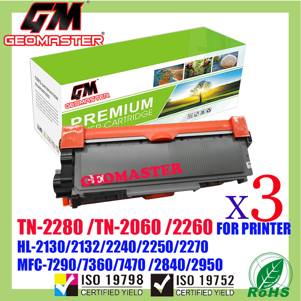 3 UNIT Compatible Brother TN2060 / TN2260 / TN2280 Laser Toner Cartridge For Brother HL-2130 / DCP-7055 / HL-2240D / HL-2250DN / HL-2270DW / DCP-7060D / MFC-7360 / MFC-7860DW / FAX-2840 Printer