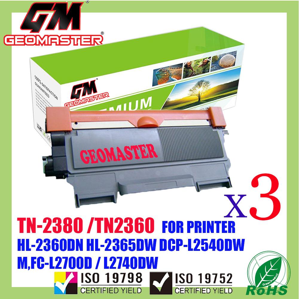 3 UNIT Brother TN-2380 / TN-2360 / TN2380 / TN2360 Compatible Laser Toner Cartridge For Brother HL-L2360DN / L2360 / HL-L2365DW / L2365 / DCP-L2540DW / L2540 / MFC-L2700D / MFC-L2700DW / L2700 / MFC-L2740DW / L2740 Printer