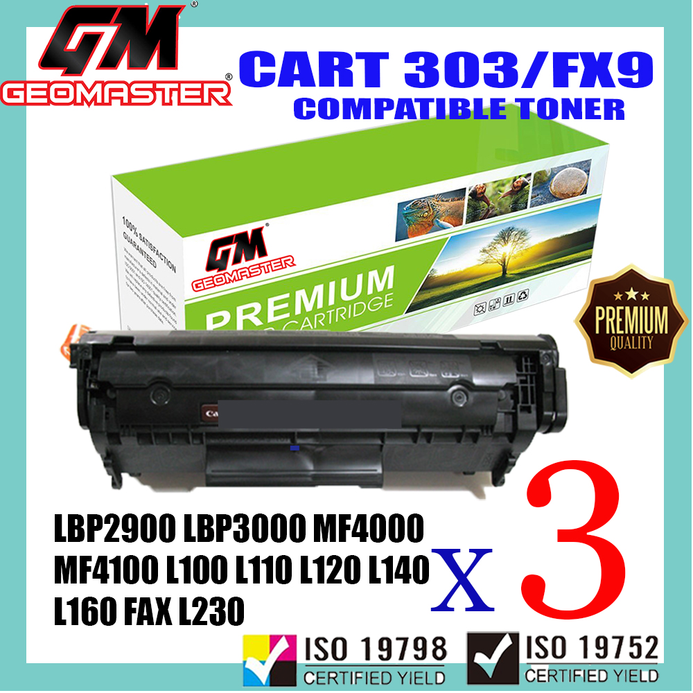 3 UNIT Compatible Laser Toner Canon 303 Cartridge 303 Canon FX9 Compatible For Canon LBP2900 LBP3000 MF4000 MF4100 MF4200 MF4600 MF4120 MF4122 MF4150 MF4270 MF4320d MF4350d MF4370dn MF4380dn MF4680 MF4690 L100 L110 L120 L140 L160 FAX L230 Printer Toner