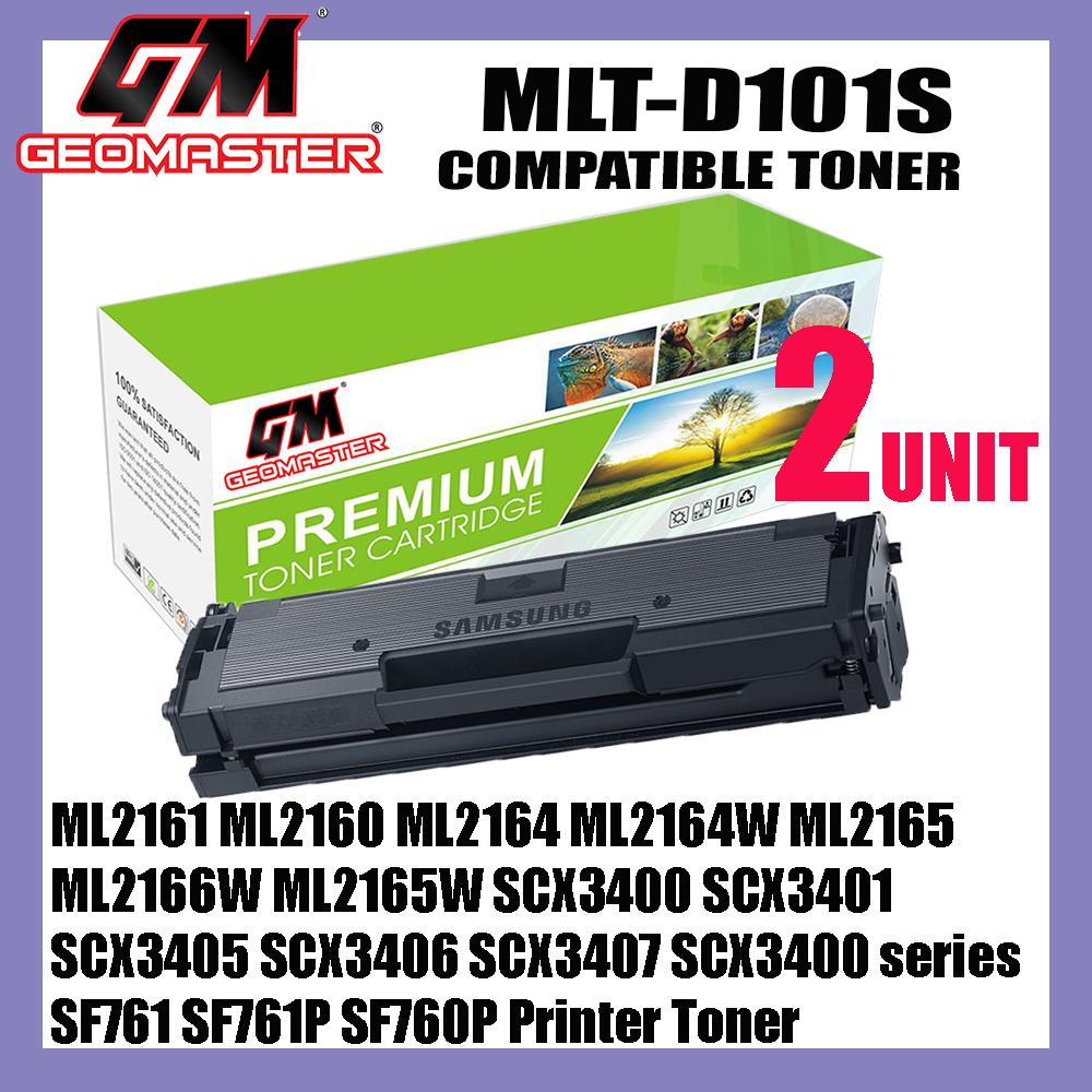 2 UNIT Samsung MLT-D101S / MLT101S Toner Cartridge For Samsung ML2161 ML2160 ML2164 ML2164W ML2165 ML2166W ML2165W SCX3400 SCX3401 SCX3405 SCX3406 SCX3407 SCX3401FH SCX3405W SCX3405FW SCX3406W SCX3406HW SF761 SF761P SF760P Printer Toner
